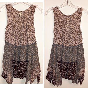 Anthro Long Silky Tiered Silky Swing Top Size XS